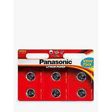 Buy Panasonic CR-2032L/6BP Lithium Coin Batteries, Pack of 6 Online at johnlewis.com