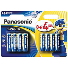 Buy Panasonic EVOLTA LR03EGE/12BW AAA Alkaline Batteries, 12 pack Online at johnlewis.com