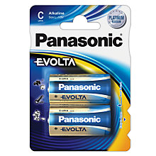 Buy Panasonic EVOLTA LR14EGE/2BP C Alkaline Batteries, Pack of 2 Online at johnlewis.com
