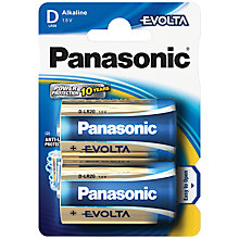 Buy Panasonic EVOLTA LR20EGE/2BP D Alkaline Batteries, 2 Pack Online at johnlewis.com