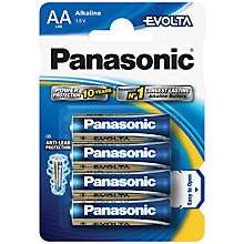 Buy Panasonic Evolta LR6EGE/4BP AA Alkaline Batteries, 4 pack Online at johnlewis.com