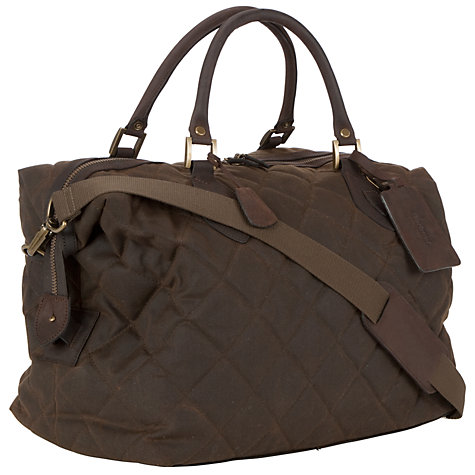 Buy Barbour Quilted Wax Explorer Holdall, Olive Online at johnlewis.com