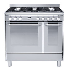 Buy John Lewis JLRC904 Dual Fuel Range Cooker, Stainless Steel Online at johnlewis.com