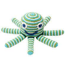 Buy Pebble Fairtrade Cotton Octopus Rattle, Turquoise Online at johnlewis.com