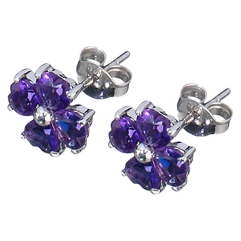 Buy A B Davis 9ct White Gold Clover Stud Earrings Online at johnlewis.com