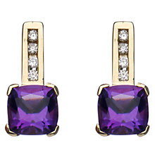 Buy A B Davis 9ct Yellow Gold Cushion Cut Stud Earrings, Amethyst Online at johnlewis.com