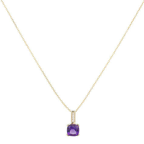 Buy A B Davis 9ct Yellow Gold Cushion Cut Diamond Pendant Necklace Online at johnlewis.com