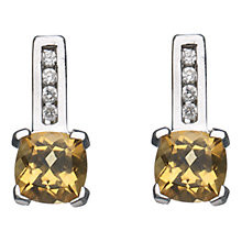 Buy A B Davis 9ct White Gold Cushion Cut Diamond Stud Earrings Online at johnlewis.com