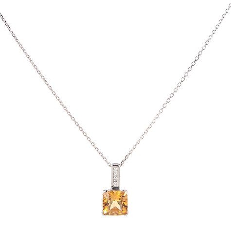 Buy A B Davis White Gold Cushion Cut Pendant with Diamond Bar Necklace Online at johnlewis.com