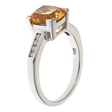Buy A B Davis 9ct Gold Cushion Cut Diamond Shoulder Cocktail Ring Online at johnlewis.com