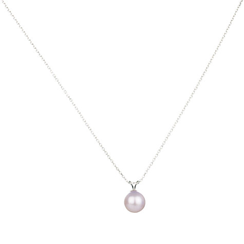 Buy A B Davis 9ct White Gold Fresh Water Pearl Pendant Necklace Online at johnlewis.com