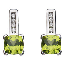 Buy A B Davis 9ct White Gold Cushion Cut Diamond Stud Earrings, Peridot Online at johnlewis.com