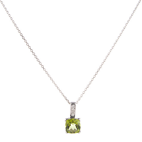 Buy White Gold Cushion Cut Peridot Pendant with Diamond Bar Necklace Online at johnlewis.com