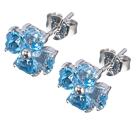 Buy 9ct White Gold Blue Topaz Clover Stud Earrings Online at johnlewis.com
