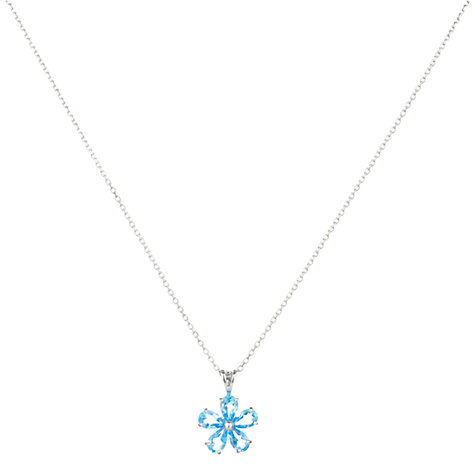 Buy A B Davies 9ct White Gold Daisy Flower Pendant Necklace Online at johnlewis.com