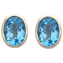 Buy 9ct Yellow Gold Rubover Oval Stud Earrings Online at johnlewis.com