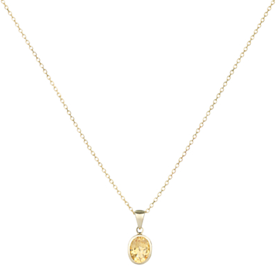 A B Davis 9ct Yellow Gold Rubover Oval Pendant Necklace