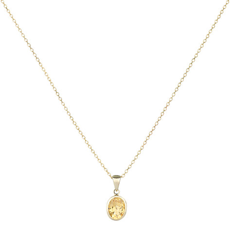 Buy A B Davis 9ct Yellow Gold Rubover Oval Pendant Necklace Online at johnlewis.com