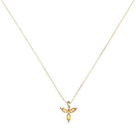 Buy A B Davis 9ct Yellow Gold Tri Marquise Pendant Necklace Online at johnlewis.com
