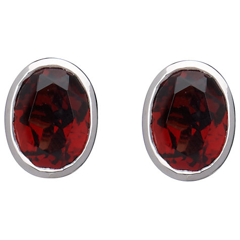 Buy 9ct White Gold Garnet Rubover Oval Stud Earrings Online at johnlewis.com
