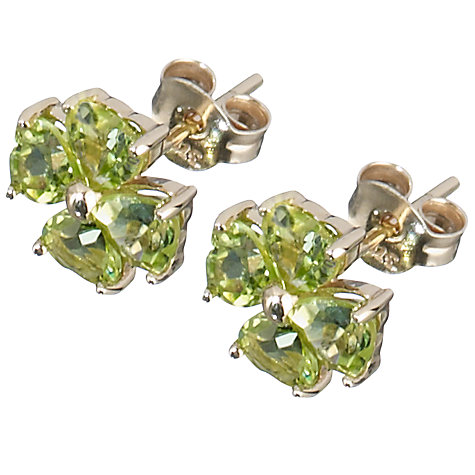 Buy A B Davis 9ct Yellow Gold Peridot Clover Stud Earrings Online at johnlewis.com