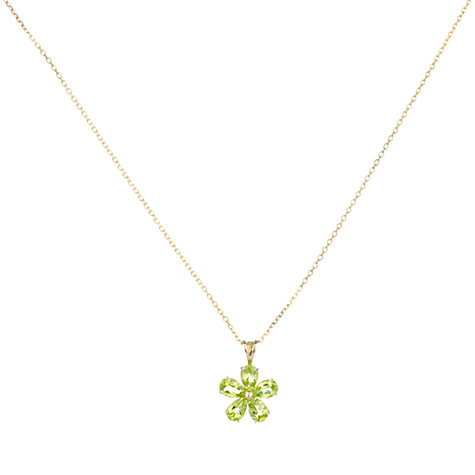 Buy A B Davis 9ct Yellow Gold Daisy Flower Pendant Necklace, Peridot Online at johnlewis.com