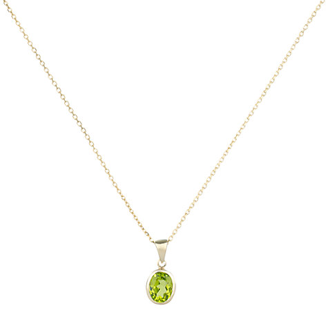 Buy AB Davis 9ct Yellow Gold Rubover Oval Pendant Necklace Online at johnlewis.com
