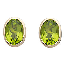 Buy A B Davis 9ct Yellow Gold Rubover Oval Stud Earrings Online at johnlewis.com