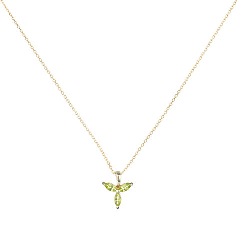 Buy 9ct Yellow Gold Peridot Tri Marquise Pendant Necklace Online at johnlewis.com