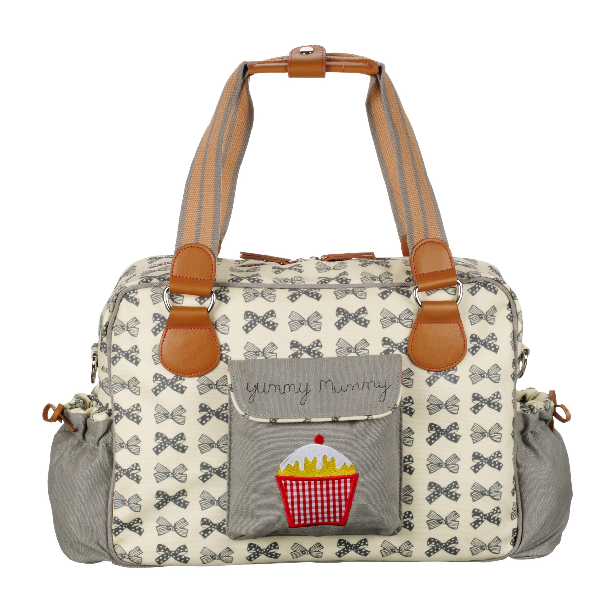 Pink Lining Yummy Mummy Bows Changing Bag Grey