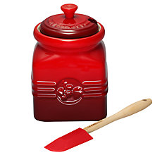 Buy Le Creuset Stoneware Preserve Jar with Spatula, Cerise Online at johnlewis.com