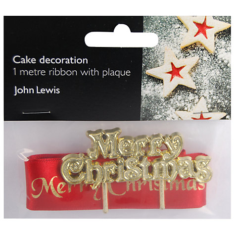 Buy John Lewis Merry Christmas Plaque and Ribbon Cake Decoration Set Online at johnlewis.com