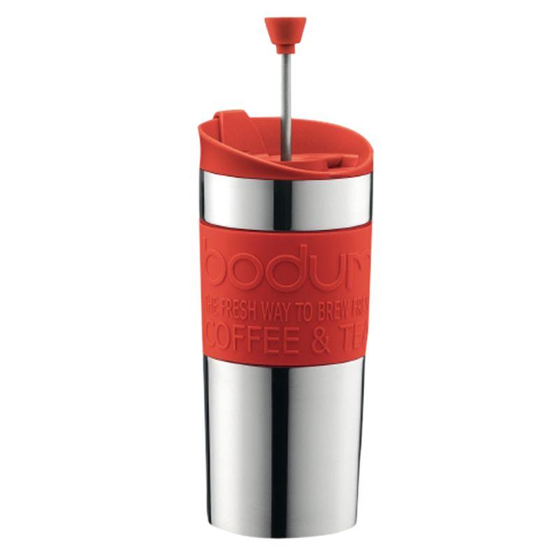 Bodum Travel Press Coffee Mug, Lime, Red