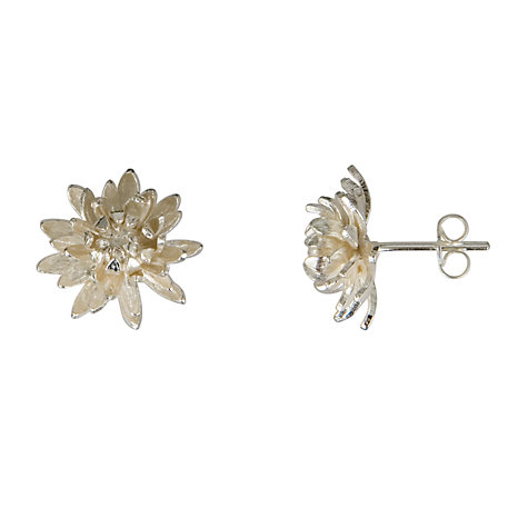 Buy Alex Monroe Medium Chrysanthemum Flower Stud Earrings, Silver Online at johnlewis.com