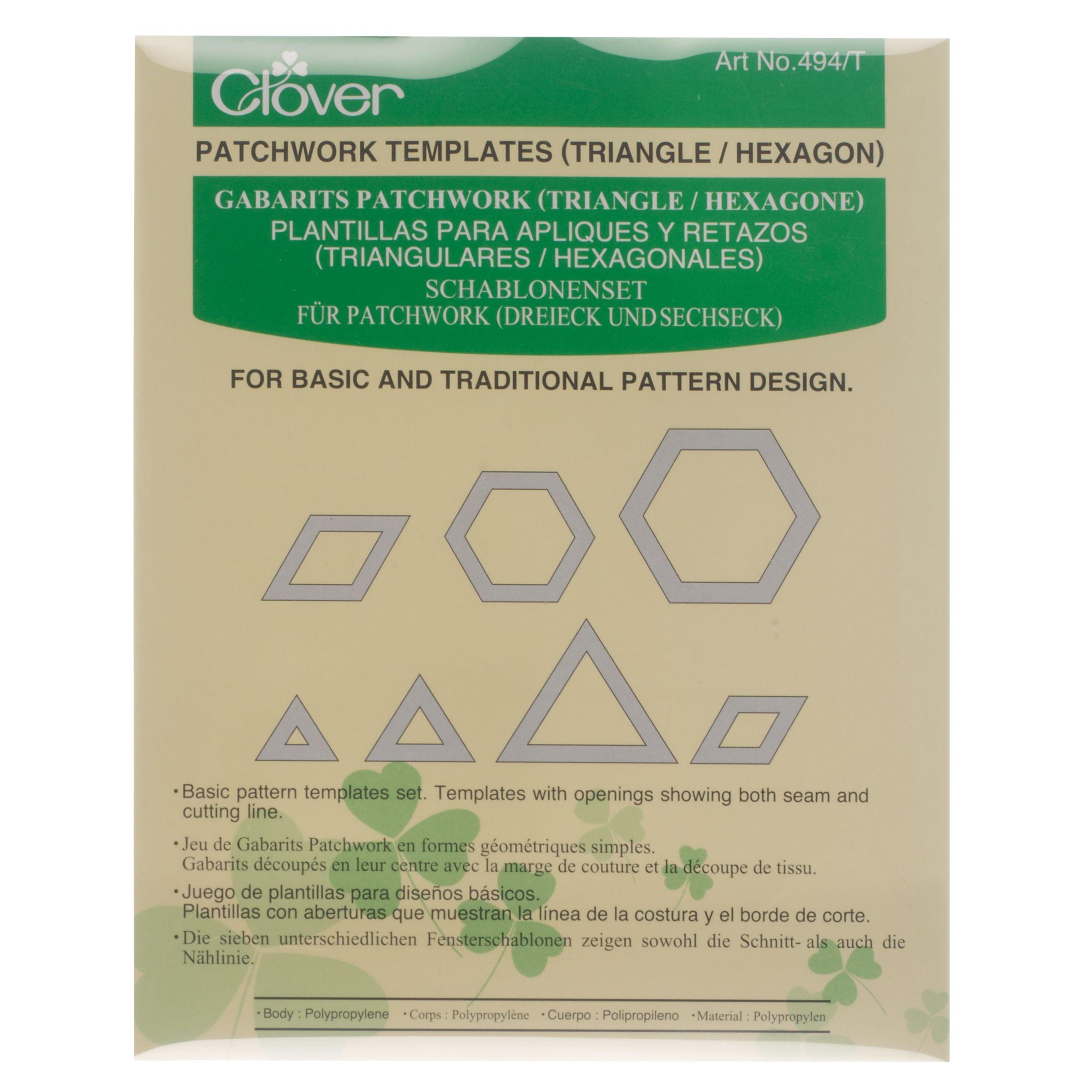 Cloverleaf Clover Patchwork Templates, Triangle / Hexagon