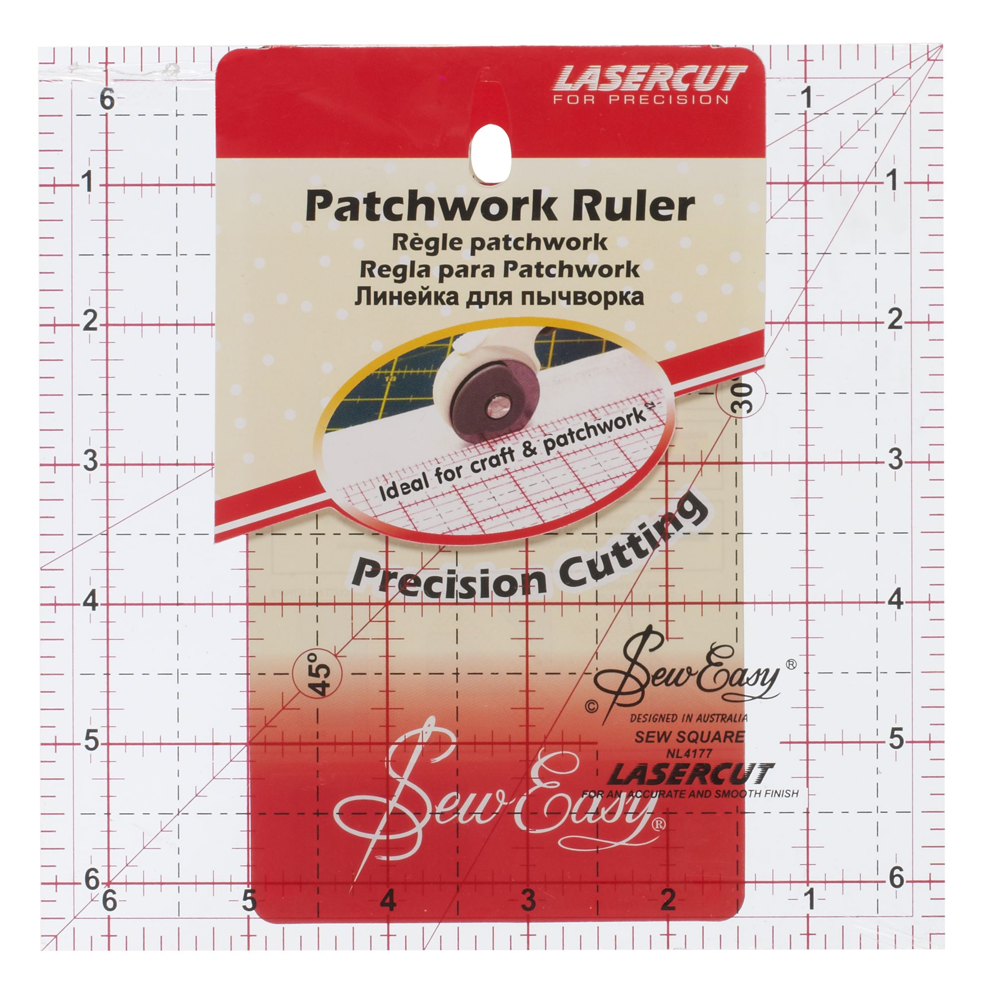 Sew Easy Sew Easy Patchwork Rule, 6.5 x 6.5
