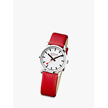 Buy Mondaine A672.30351.11SBC Unisex Round Dial Leather Strap Watch, Red / White Online at johnlewis.com
