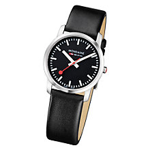 Buy Mondaine A6723035114SBB Unisex Simply Elegant Black Dial Leather Strap Watch, Black Online at johnlewis.com