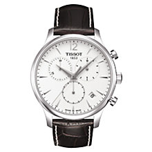Buy Tissot T0636171603700 Men's Tradition Chronograph Leather Strap Watch, Brown Online at johnlewis.com