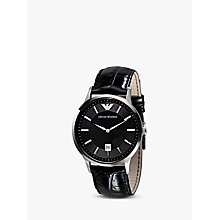 Buy Emporio Armani AR2411 Men's Leather Strap Watch, Black/Silver Online at johnlewis.com