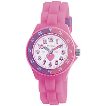 Buy Tikkers TK0003 Children's Time Teacher Rubber Strap Watch, Pink Online at johnlewis.com