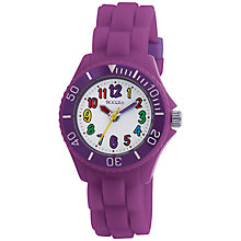 Buy Tikkers TK0010 Children's Time Teacher Rubber Strap Watch, Purple Online at johnlewis.com