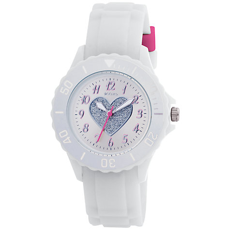 Buy Tikkers TK0034 Children's Heart Rubber Strap, White Online at johnlewis.com