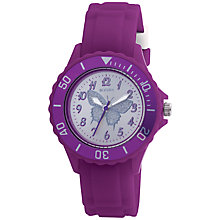 Buy Tikkers TK0035 Children's Butterfly Rubber Strap, Purple Online at johnlewis.com