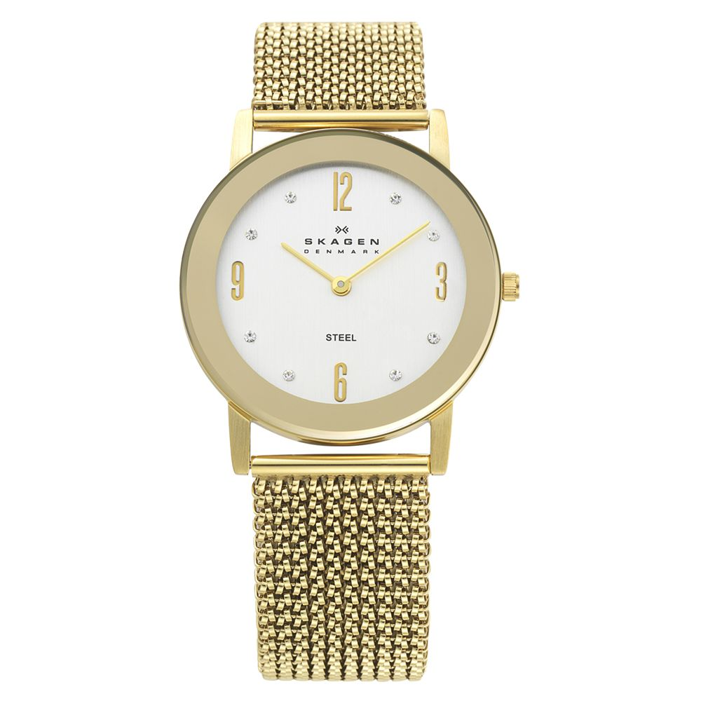 Skagen 39LGG1 Women's White Round Gold Steel Mesh Bracelet Watch