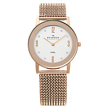 Buy Skagen 39LRR1 Women's Rose Gold Stretch Mesh Band Watch Online at johnlewis.com