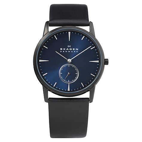 Buy Skagen 958XLBLN Men's Black Steel Case Blue Dial Leather Strap Watch Online at johnlewis.com