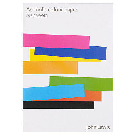 Buy John Lewis A4 Paper, Multi, 50 Sheets Online at johnlewis.com
