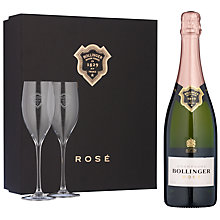 Buy Bollinger Black Rose Champagne Gift Box With Glasses, Set of 2 Online at johnlewis.com
