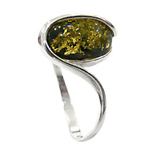 Buy Goldmajor Silver Green Oval Amber Stone Ring, N Online at johnlewis.com